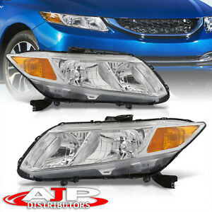 Chrome Headlights Lamps Left+Right For 2012-2015 Honda Civic Sedan 12-13 Coupe