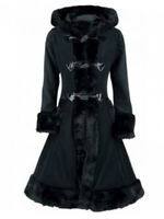 Vintage Victorian Gothic Steampunk Ladies Womens Duffle Style Trench Hooded Coat
