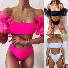 Bandeau Top Bathing Suit Mesh Ruffled Sleeve Swimwear Bath High Waist Bikini Set