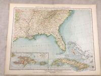 1899 Mappa Antica Di Florida Puerto Rico Stati Uniti USA 19th Secolo Tedesco
