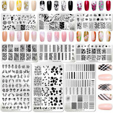 NICOLE DIARY Nail Stamping Plates Flower French Geometry Nail Art Image Template