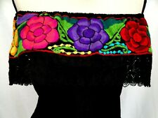 Embroidered Mexican Blouse Floral Oaxaca Top peasant Gauze Frida 5 de Mayo vtg