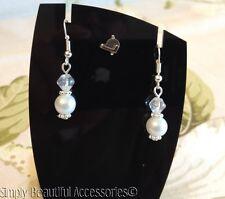 Bridal White Glass Pearl AB Bicone Bead Dangle Pierced Earrings Wedding Bride