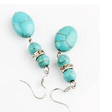 Dangle Oval Stone Long Tibetan Silver Drop Jewelry Pendant Earrings Vintage