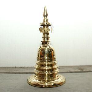 "Ark of the Tooth  - Brass Buddhist Stupa - 11"" Tall"