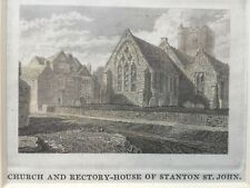 1823 Antique Print; Church and Rectory, Stanton St. John, near Oxford