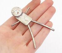 925 Sterling Silver - Vintage Modernist Designed Figure Brooch Pin - BP5888
