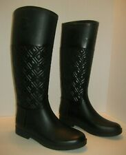 35698628179 TORY BURCH MARION QUILTED RAIN BOOT RAINBOOT BLACK SIZE 8 M
