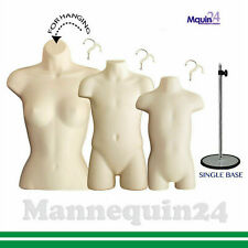 Flesh Female, Child & Toddler Torso Mannequin Set + 1 Stand + 3 Hangers