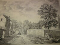Ecole FRANCAISE DEBUT XIX GRAND DESSIN PAYSAGE RUE ANIMEE VILLAGE DRAWING 1810