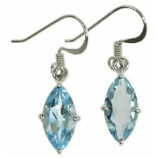Blue Topaz Marquise Hook Earrings, Quality, Stylish, Sterling Silver SE1895