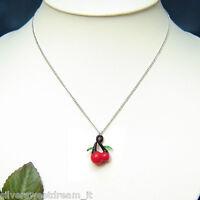 Pendente ciondolo ciliegie cherry collana ciliegia rosso catenina necklace gift