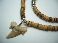 "Fossilized Morrocan Shark Tooth Pendant Coco Beads 18"" Necklace 30217 ( QTY 2 )"