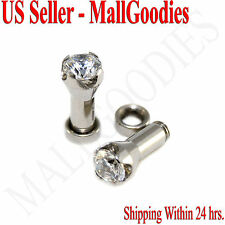 1255 Screw-on / fit Clear Solid CZ Prongs Ear Plugs Retainers 6 Gauge 6G 4mm