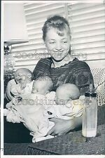 1960 Mrs Donald Sampson of Everett WA Holds Her Newborn Triplets Press Photo