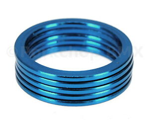 """Bicycle BMX or MTB headset spacers for 1 1/8"""" threadless (SET of 5) 2mm - BLUE"""