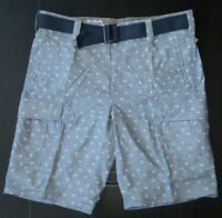 DKNY Jeans Men's Cargo Short Blue Printed Shorts Size 36 38 w/ Navy Belt New