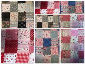 Fat Quarter Metre Shabby Chic Patchwork Polycotton Fabric Bunting Dressmaking