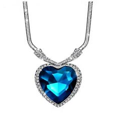 S8 Made Using Swarovski Crystals Large Blue Heart Necklace $129