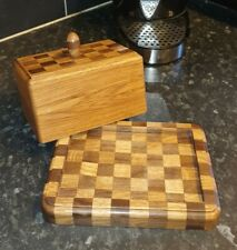 More details for wooden chess board butter dish with lid