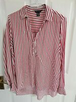 NEW LOOK WOMENS RED WHITE STRIPED SHIRT BLOUSE SIZE 8 PIT TO PIT 20 LENGTH 31