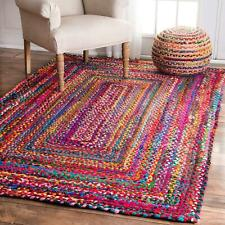 "5x8""Feet Indian Handmade Hand Braided Bohemian Colorful Cotton Chindi Area Rug"