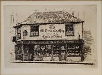 Vintage Charles Dickens Ye Old Curiosity Shop Etching Print Picture Cecil Forbes