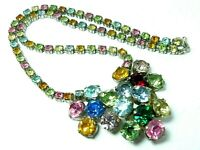 Lovely Vintage1950s sparkly daisy flower multicoloured glass rhinestone necklace