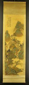 JAPANESE HANGING SCROLL ART Painting Sansui Landscape Tanomura Chokunyu  #E6415