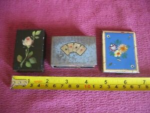 2 Vintage Painted Metal Match Box Covers Holder plus metal Match Book Cover