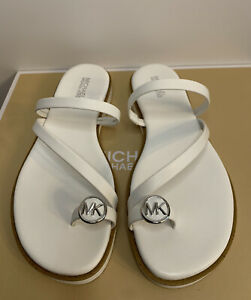 New - Women's Michael Kors Letty Optic White Leather Thong Sandals Size 7