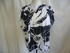 """Ladies Blouse Susan Burrowes black/white abstract chest 40-42"""" loose fit  0725"""