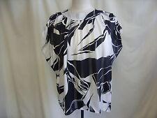 """Blusa señoras Susan Burrowes Negro/Blanco Abstracto pecho 40-42"""" Loose Fit 0725"""