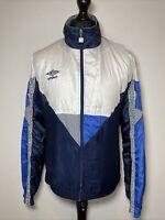 Umbro Vintage Retro Shell Jacket 80's 90's Blue & White Windbreaker Men's L VGC