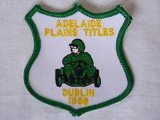 VINTAGE ADELAIDE PLAINS TITLES DUBLIN 1988 EMBROIDERED PATCH WOVEN CLOTH BADGE