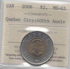 **2008 Quebec's 400th Anniv.**,ICCS Graded Canadian Toonie $2 **MS-65**
