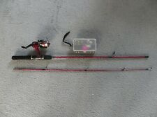 Zebco 1.7M 2 Piece Light Weight Rod with Reel & Box of Assorted Hooks & Things.