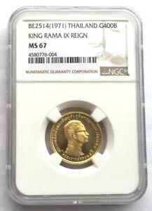 Thailand 1971 King Rama IX 400 Baht NGC MS67 Gold Coin,UNC