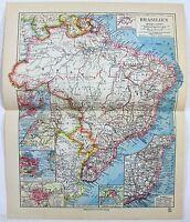 Original 1928 German Map of Brazil by Meyers