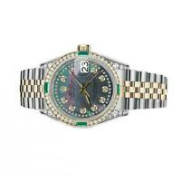 Women's Rolex 31mm Datejust Two Tone Jubilee Black MOP Mother of Pearl String Di
