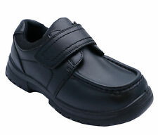 BOYS LEATHER BACK TO SCHOOL SHOES TOUCH STRAP BLACK SMART WEDDING LOAFERS  C10-6