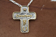 Bold Western Rodeo Cross Cowboy Up Necklace Horse Star Horseshoe Silver Gold Men