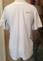 Nike Shirt Boys Large Dri Fit White Athletic Short Sleeve Black Trim Swoosh