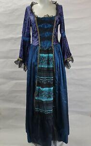 Royal Princess Purple Velvet Blue Medieval Renaissance Cosplay Dress M  8/10