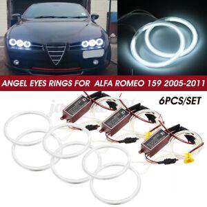 6x CCFL Angel Eyes Standlichtringe 85/90/95mm 12V Weiß Für Alfa Romeo 159