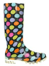 Womens Girls Black Coloured Spotty Wellies Festival Mud Rain Boots SIZE 4 / 37