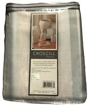 "Croscill Home White Aura Contemporary Striped Fabric Shower Curtain 72""x75"" NEW"
