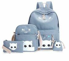 4pcs/Set Laptop School Backpacks Teenagers Bagpack Cute Cat Canvas Satchel Kids