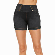 Women Denim Look High Waist Summer Causal Stretchy Cotton Shorts