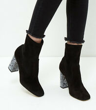 RRP £60 NEW LOOK SIZE 3 4 5 6 7 BLACK REAL LEATHER SUEDE MARBLE HEEL ANKLE BOOTS